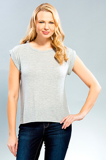 Women Drop Shoulder Tee with Cuffed Sleeve