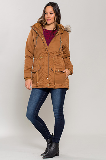 Women Detachable Faux Fur Hooded Parka