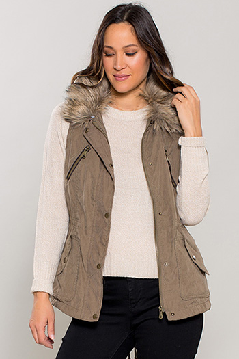 Women Vest with Detachable Fur Collar