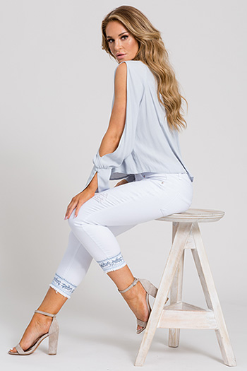 Women Blue Embroidery Flood with Fray Hem