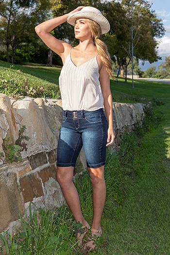 Women 3-Button Basic Denim Bermuda with Side Slits
