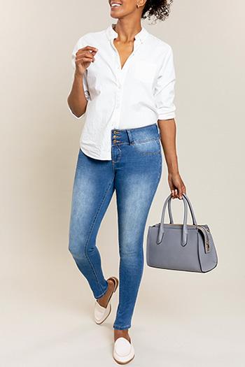 Women 3-Button Basic Skinny Jean