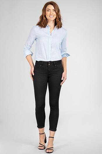 Women 2-Button Cuffed Ankle Jean
