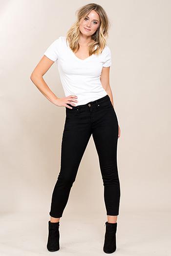 Women Basic Anklet with Side Leg Zip