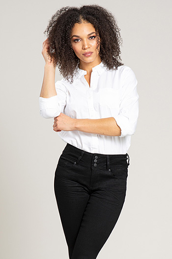 Women Hide Your Muffin Top 3-Button High-Rise Skinny Jean