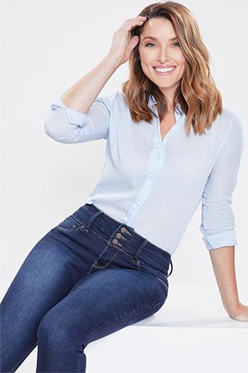 Women 3-Button Denim Skinny Jean