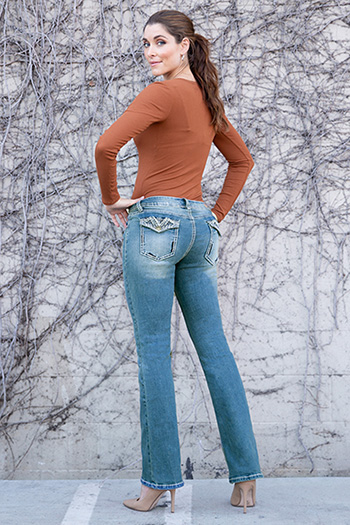 Women Heavy Stitch Bootcut Jean with Back Pocket Embroidery