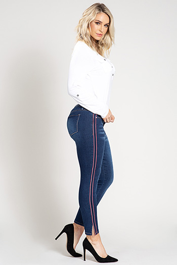 Women Tuxedo Stripe Denim Ankle Jean