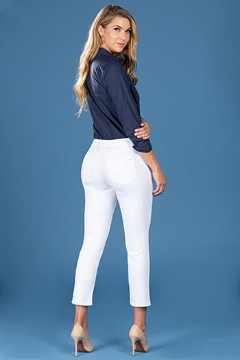Women Modern Mid-Rise Straight Leg Ankle Jean
