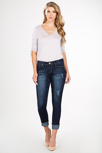 Women Hide Your Muffin Top Mid-Rise Cuffed Ankle Jeans