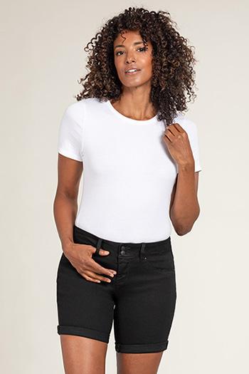 Women 2-Button Mid-Rise Basic Cuffed Shorts