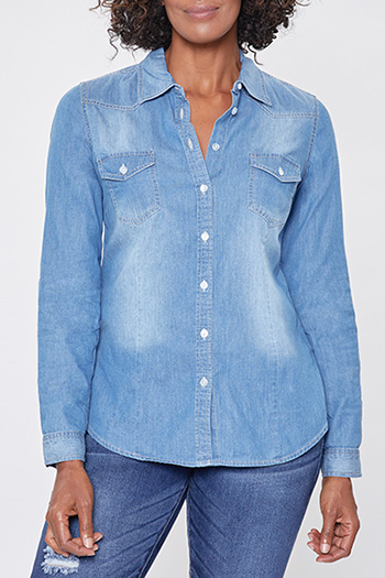 Women Chambray Long Sleeve Button-Up Shirt
