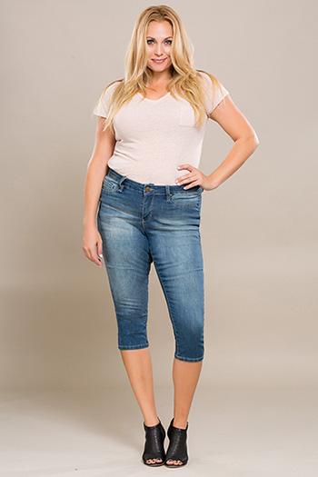 Women Plus Size Basic Capri