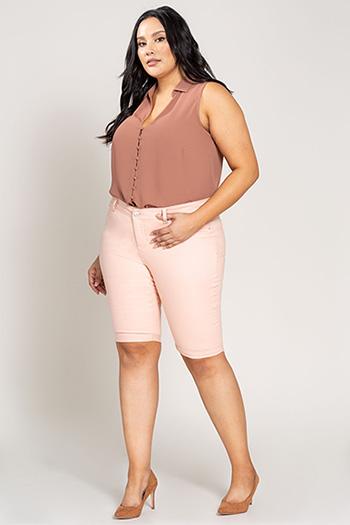 Women Plus Size Basic Rolled Cuffed Bermuda Shorts