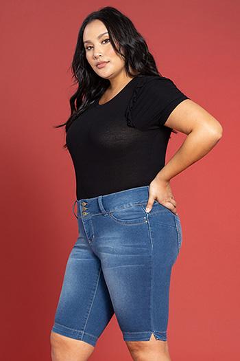 Women Plus Size WannaBettaButt 3-Button Denim Bermuda Shorts