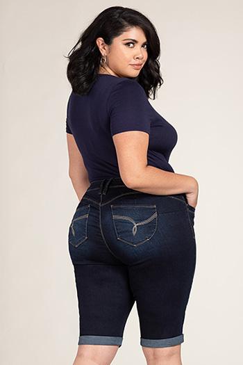 Women Plus Size WannaBettaButt Double Rolled Bermuda