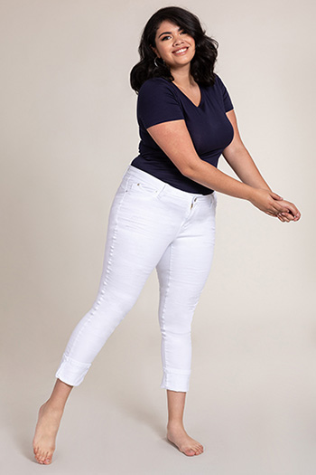 Women Plus Size WannaBettaButt Mega Cuff Ankle Jeans