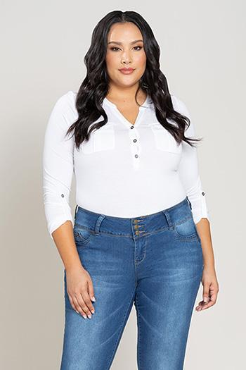 Women Plus Size WannaBettaButt 3-Button Cuffed Denim Jean