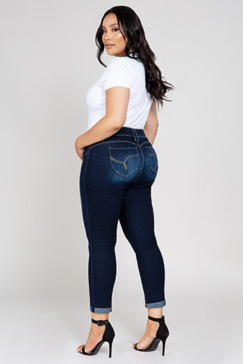 Women Plus Size WannaBettaButt 2-Button Cuffed Jean