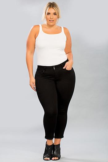 Women Plus Size 2-Button Cuffed Denim Ankle Jean