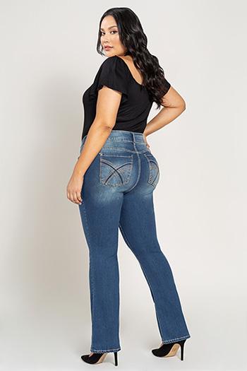 Women 2-Button Heavy Stitch Bootcut Jean