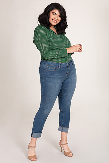 Women Plus Size Hide Your Muffin Top Mid-Rise Wide Cuffed Ankle Jean