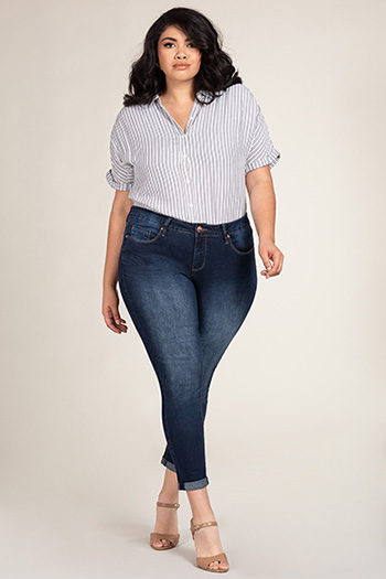 Women Plus Size Hide Your Muffin Top Mid-Rise Ankle Jean with Double-Rolled Cuffs